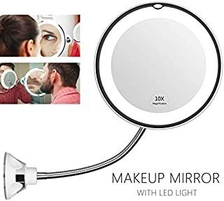 5CD1 360 Degree Flexible Mirror Makeup Desktop Mirrorheadlight 10X Mirror with LED Makeup Light Degrees Suction Cup Adjustable Amplification (Color : 10x Magnifying)