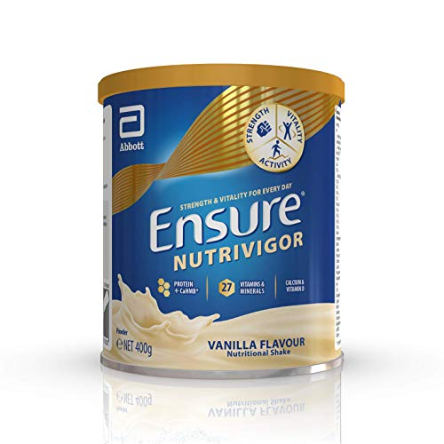 Ensure NutriVigor – Nutrition Powder for Adults, 27 Vitamins and Minerals, Protein, HMB, Calcium and Vitamin D, Food Supplement, 400g Vanilla Flavour