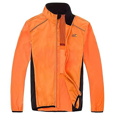 MiOYOOW Chaqueta de Ciclismo, Cortaviento Jersey para Hombre Ajustable Dobladillo Chubasquero con Tira Reflectante