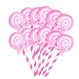 Amosfun 36pcs Toppers Cupcake Lecca-Lecca con Fiocco Lecca-Lecca Raccoglie Topper Muffin p...