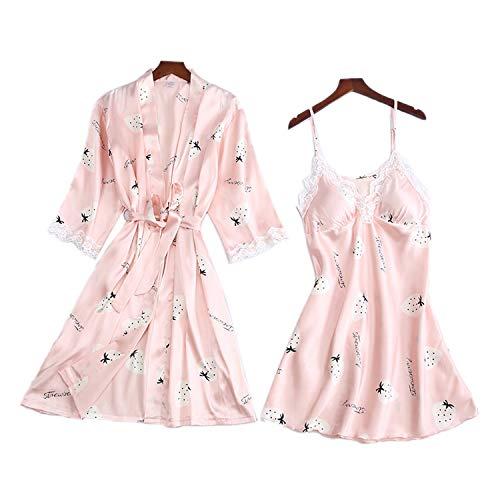 Damen-Nachthemd, Hochzeitsmantel, Satin, Nachtwäsche, Nachthemd, sexy Hauskleidung, Nachtwäsche Gr. Medium, Rosa Erdbeere