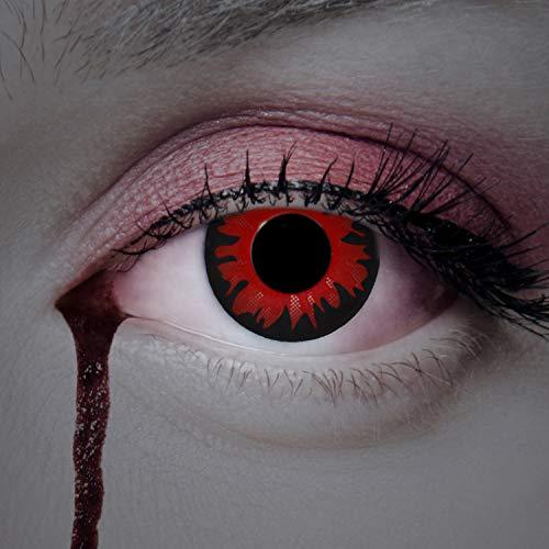 aricona Kontaktlinsen – Rote Horror Halloween Kontaktlinsen - Intensive rot schwarze Jahreslinsen für Halloween, Fasching, Karneval, 2 Stück