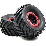 2pcs RC 2.2 Mud Badland Snow Tires Tractor Tread Tyres Height 130mm & 2.2'' Beadlock Wheel Rim