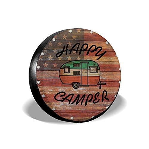 Suminla-Home Happy Camper - Cubierta de repuesto para neumáticos, de piel de PVC, resistente al agua, para remolque, RV, SUV, camión, caravana, viajes, remolque, accesorios