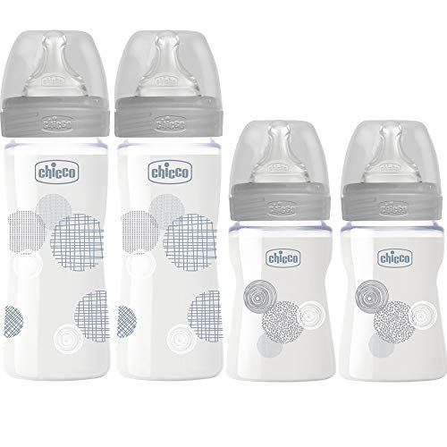 Chicco Set di 4 biberon Well-Being in vetro ( tettarella in silicone 0 m+ & 2m+) Made In Italy