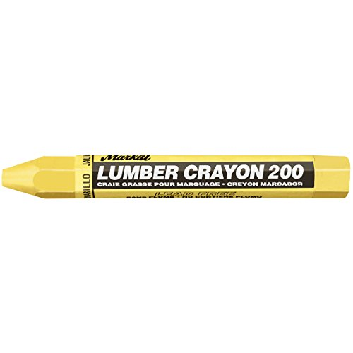 Markal 200 Lumber Crayon Economical Wax Based Marker, 1/2' Hex, 4-5/8' Length, Yellow (Pack of 12)