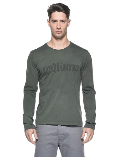 Galliano Herren T-Shirt galliano grün Langarm Gr. L