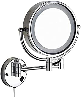 """Daily Necessities Bathroom Mirror, Wall Mirror, Double Folding Lens with LED Lights, Bathroom Magnifier, 8"""" (360 Degree Rotation)"""