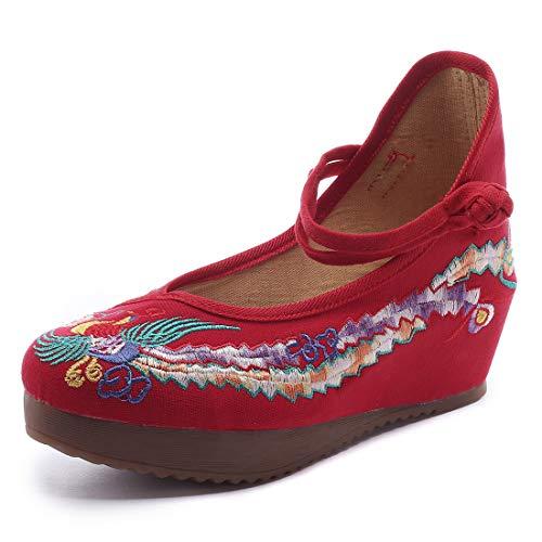2018 nuevos Zapatos Bordados de Estilo étnico de Primavera y Verano Aumentaron la Pendiente con Zapatos Casuales de señoras de Lona (Rojo,41 EU)