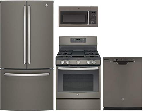 """GE 4 Piece Kitchen Package with GNE25JMKES 33"""" Refrigerator, JGB700EEJES 30"""" Gas Range, JVM3160EFES 30"""" Over the Range Microwave and GDF630PMMES 24"""" Built In Full Console Dishwasher in Slate"""