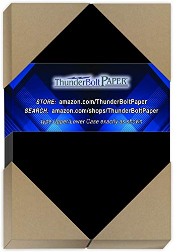 "75 Dark Black Smooth Card/Cover Sheets - 4.5"" X 6.5"" (4.5X6.5 Inches) Invitation 1/2"" Smaller Than 5X7 Size - 80# (80 lb/Pound) - Cover Weight Fine Paper for Quality Results on a Smooth Finish"