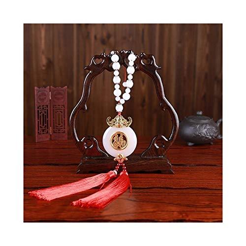Coche Colgante de Oro con Incrustaciones de Jade Fu Doble Borla Colgante del Automóvil Espejo retrovisor Fook Lucky Adornos de decoración de Estilo Chino (Color Name : C Style)
