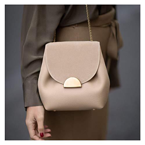 Moda Diseñador de Lujo Bolsas de Cubo nuevos Bolsos de Cadena pequeña Mujer Bolsa de Hombro de Cuero Lady Francia Famosa Marca Cruz Corporal Bolsa para Mujeres (Color : Beige)
