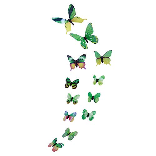 Christmas Decor Gaoshi 12PCS Luminous Butterfly Wall Sticker, Colorful Luminous Butterfly Unique Design for Decal Art Wall Stickers Room Magnetic Home Christmas Friends Party Decor (Green)