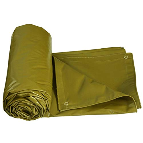 AI LI WEI-zeil van polyethyleen gecoat, voor buiten, regendicht en geoxideerd zonnescherm, caravan, isolatie, dikte 0,5 mm (5 kleuren optioneel) 4 x 3m Army Yellow