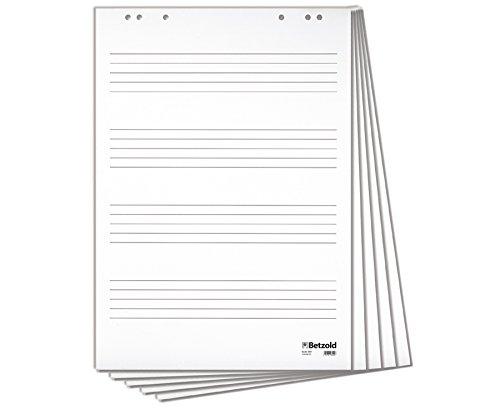 Betzold 9991 - Flipchart-Block mit 4 Notensystemen, Format: 67,5x 96 cm, mit 20 Blatt geleimt, für alle üblichen Flipcharts verwendbar - Musik-Unterricht Notenlinien