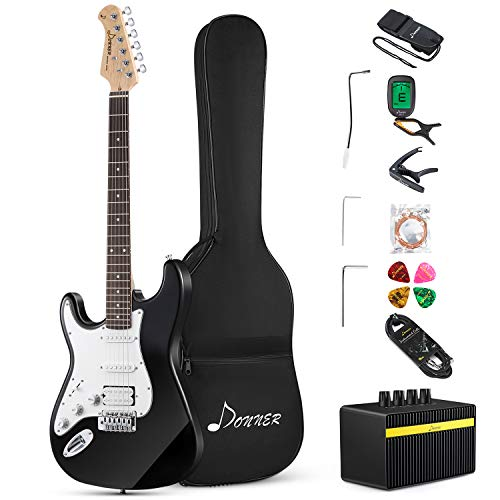 Donner Kit de Guitarra Eléctrica Zurdos de Tamaño Completo Stratocaster Guitarra Electrica...