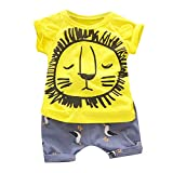 Jimmackey- Bambina Ragazzi Leone dei Cartoni Animati Stampare Camicia Maniche Corte Estive Cime + Pantaloni 2pcs Abiti Set