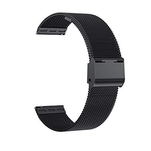 Cinturini per orologio,cinturino in maglia metallica di ricambio in acciaio inossidabile da 22mm,cinturino in metallo a sgancio rapido,braccialetti per smartwatch per uomo donna (22mm, Nero)