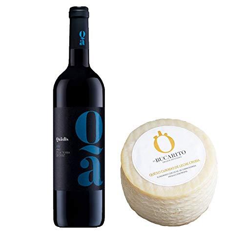 Pack de Vino tinto Quadis Joven y Queso Curado de Leche Cruda - Vino de 75 cl y Queso de 900 g aprox - Mezclanza