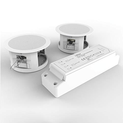 Einbaulautsprecher Decke Bluetooth, i-Star Bluetooth Deckenlautsprecher Komplettset 2 Lautsprecher mit Bluetooth-Modul