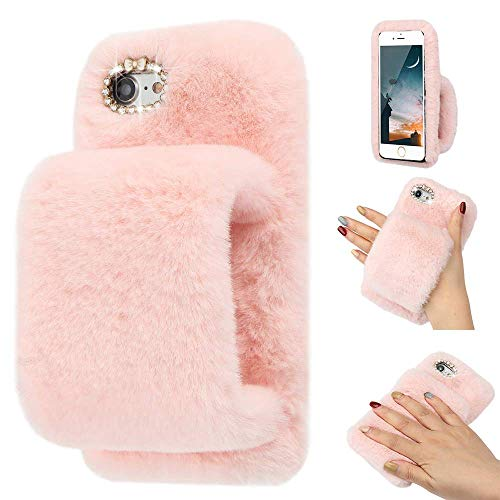 LLZ.COQUE for iPhone 5 iPhone 5S iPhone SE Case Cute Girls Soft Faux Fur...