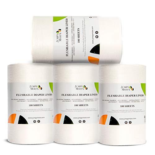 Einweg-Windeleinlagen, ohne Parfüm, biologisch abbaubar | 100% Bambus, chlorfrei & farbstofffrei, stark absorbierend | Herunterspülbar & wegwerfbar (4er Pack)