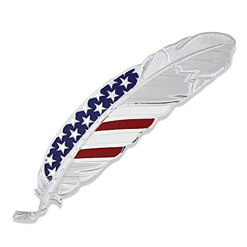 Montana Silversmiths Hand Painted Hat Feather (Stars and Stripes USA – Silver)