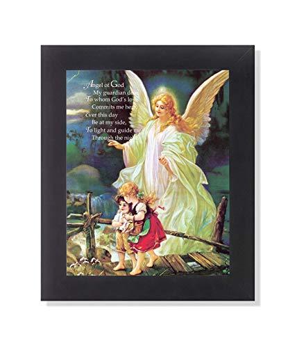 Guardian Angel of God Poem Children Bridge Religious Picture Black Framed Art Print 8x10'