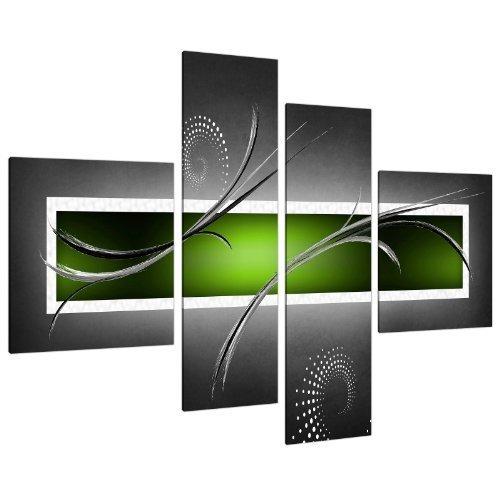 Grande Quadro su Tela Astratto, Verde Lime Green e Grigio - Wall Art Quadri Stampe XL 4093