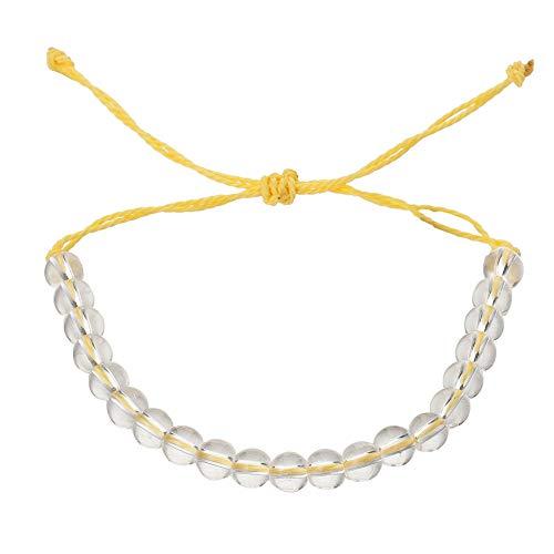 RIsxffp Pulsera de cuerda de tejer con cuentas transparente unisex ajustable hecho a mano pulsera regalo muñeca decoración amarillo