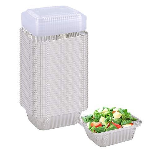 """Aluminum Pans (50-Pack) - Aluminum Rectangular Foil Pans Table Deep Pans, with PET Plastic Lids, (Outer Size: 5.7"""" x 4.72"""" x 1.77"""", Inner Szie: 4.3"""" x 3.34"""")"""