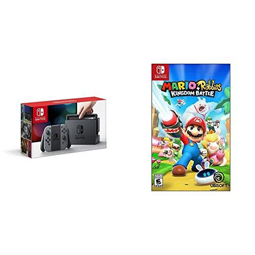 Nintendo Switch Console - Grey Edition with Mario + Rabbids Kingdom Battle