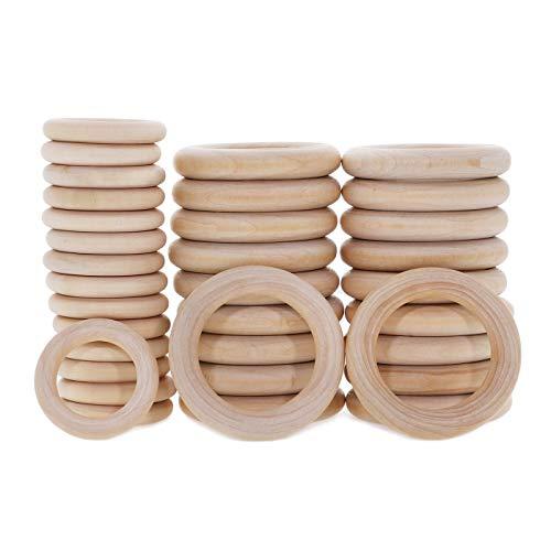 Holzringe zum Basteln,40 Stücke Holzring Makramee Zubehör,Natürliche Hölzern Ringe,Baby Holzkreise Holz Ringe für DIY Anhänger Macrame Wandbehang Traumfänger Handwerk
