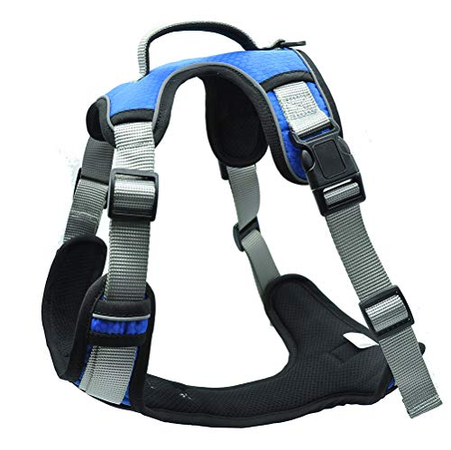 """Soft Front Dog Harness.Reflective No Pull Harness with Handle,Easy On and Off with Front and Back Leash Attachments,Size Adjustable and Non Choke (Blue, L (Neck: 16-28"""". Chest: 18-33""""))"""