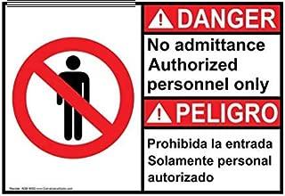 Pegatinas de Advertencia para Etiquetas de señal ANSI Danger, Pegatinas de Peligro, 7 x 5 Pulgadas, con información de Personal Autorizado sólo en inglés + español, Color Blanco