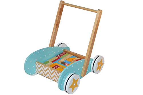 BeToys - 131992 - Chariot de marche + Jeu de construction en BOIS - Pom' Des Bois - Coloris MULTICOLORE