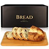 Farmhouse Bread Box For Kitchen Countertop- Black Metal Bread Container With Bamboo Lid Chopping Board -large Black Bread Holder-Modern Bread Bin Keeps Bread Organized And Prolongs Freshness