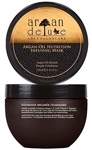Argan Deluxe Haarmaske in Friseur-Qualität 250 ml - Haarkur mit Arganöl zur intensiven Pflege - für Geschmeidigkeit und Glanz