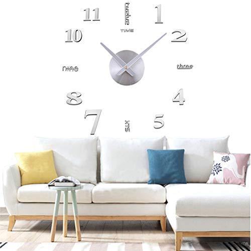 Yolistar Orologio da Parete Fai-da-Te, 3D Adesivo Orologio Parete Decorazione, Silenzioso Facile da Montare Parete Moderno Decorazione per Casa, Ufficio, Hotel - (Argento)