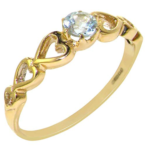 9ct Yellow Gold Natural Aquamarine Womens Engagement Ring - Size M - Sizes J to Z Available