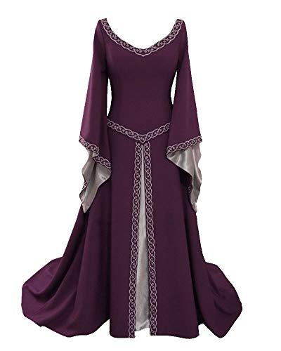 Disfraz Cuello En V Medieval para Mujer Vestido Vintage Manga De Llamarada para Mujeres Vino Rojo L