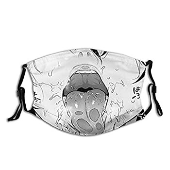 Other1 Ahegao Mouth Mask - Reusable Dust Face Cover Printed Headband Adjustable Balaclava Masks Windproof for Women Men
