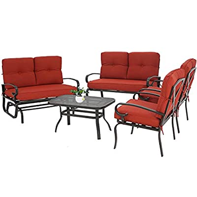 Oakmont 5Pcs(6 Seats) Outdoor Metal Furniture Sets Patio Conversation Set Glider, 2 Single Chairs, Loveseat and Coffee Table, Wrought Iron Look, Red