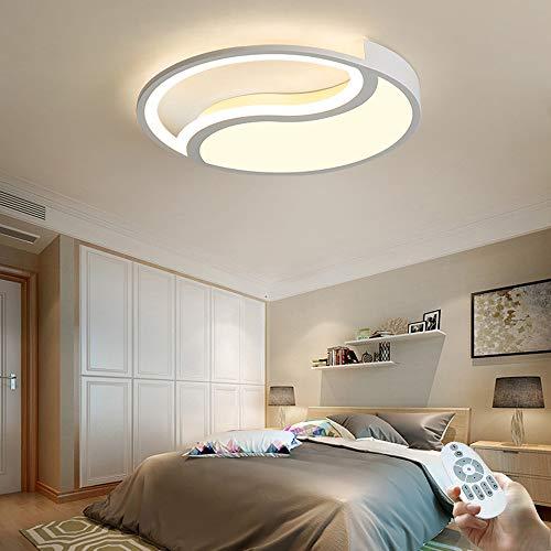 Plafonnier LED Moderne Dimmable avec télécommande, Lampe de plafond de chambre à coucher à Anneau Rond, Éclairage Blanc de Salon de Décoration en Métal pour Chambre des enfants de appartement, 30W