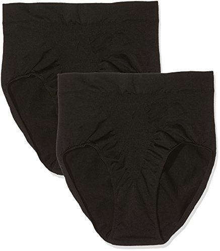 belly cloud Damen Shape-Slip Blumendesign, figurformend, Seamless Miederslip, Schwarz (Schwarz 001), 56 (Herstellergröße: XXXL) (2er Pack)
