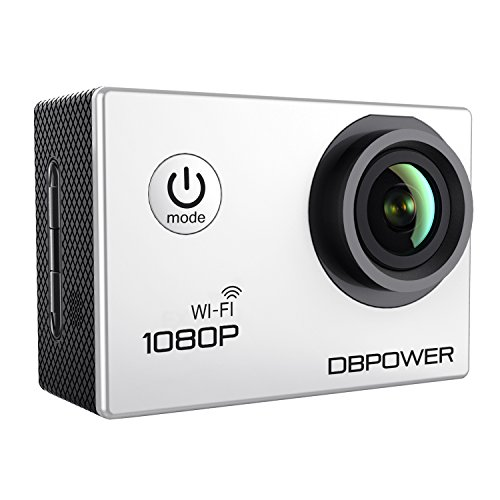 DBPOWER Waterproof Action Camera 12MP 1080P HD with 2 Batteries and Free Accessories Kit (Wifi White)
