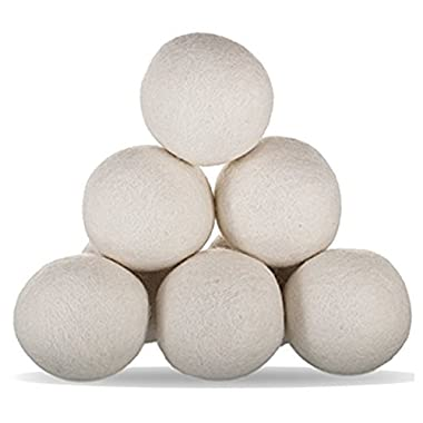 OUNONA Wool Dryer Balls Organic Wool Softener Laundry Balls 6pcs (White)