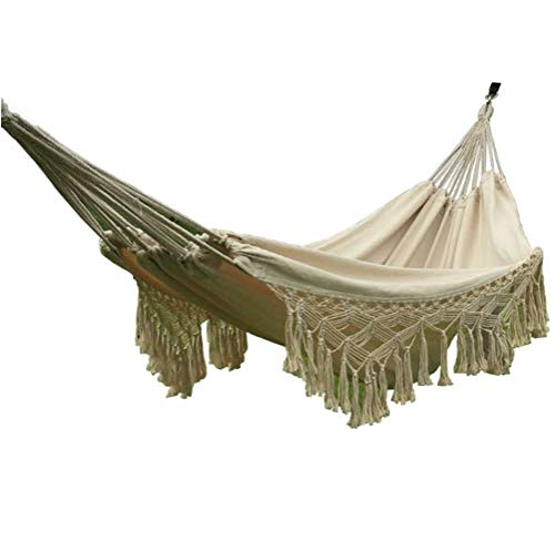N / A Boho Style Balcón Hamaca Cama Colgante Cuerda Silla Porche Swing con Flecos de Crochet para Patio Trasero Jardín Exterior e Interior - Beige, 200 x 150 cm