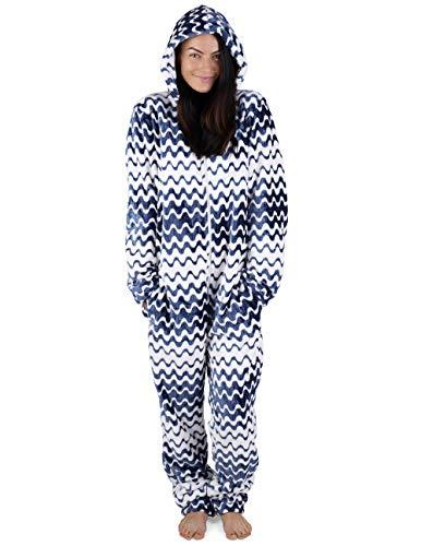 Onesie Damen Kuscheliger Jumpsuit Pyjama mit Geometrische Motive (XL, Blau und weiß)